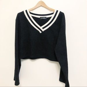 Black and white  varsity style cropped sweater